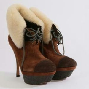 L.A.M.B. Suede Shearling platform ankle booties